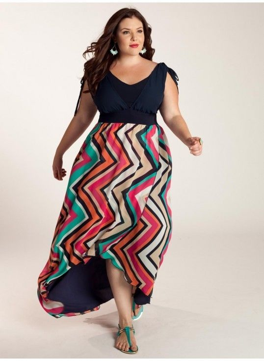 Igigi Plus Size Dress Size 18 20 2x Jordan Chevron Multi Colored