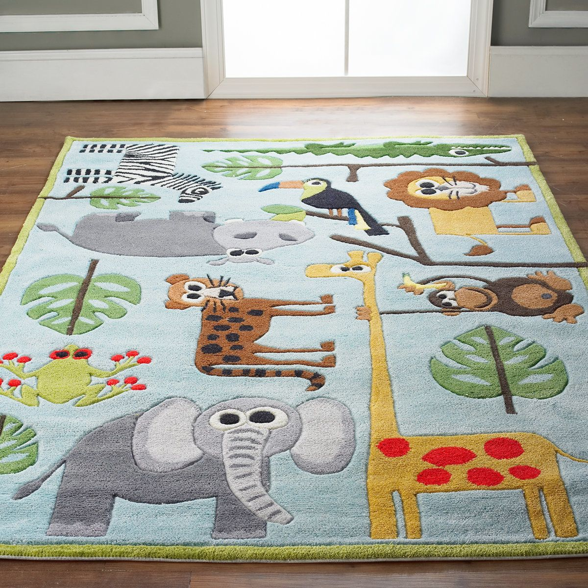 whimsical safari animals rug   animals, products and rugs
