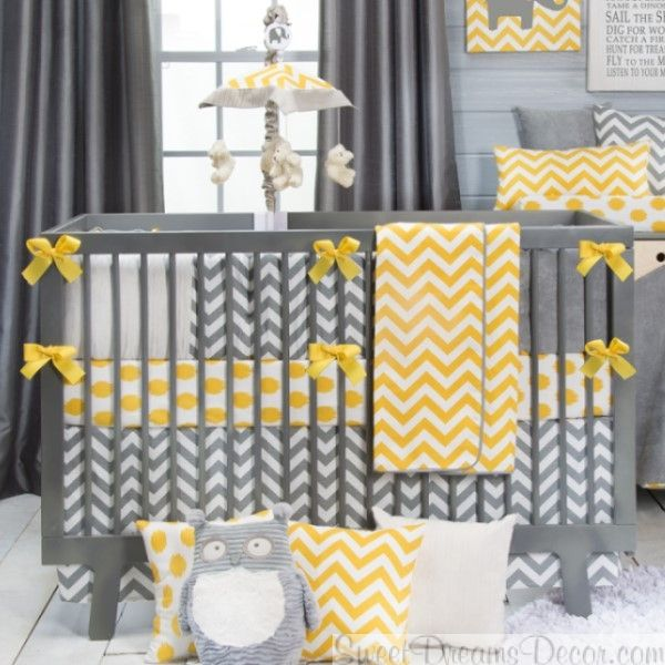 Swizzle Yellow And Gray Chevron Neutral Baby Bedding Wowzersthis Is Busy But There Are Lots Of Ideas