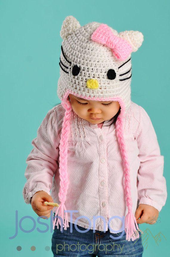 Hello Kitty Hat Crochet Baby Hat Baby Hat by stylishbabyhats, $19.99