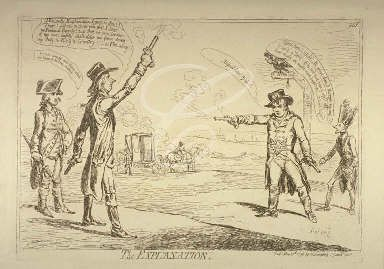 """The explanation""; showing on the left William Pitt and on the right George Tierney on Wimbledon Common firing pistols at each other, both missing. St Paul's Cathedral and London spires are in the distance (1798)"