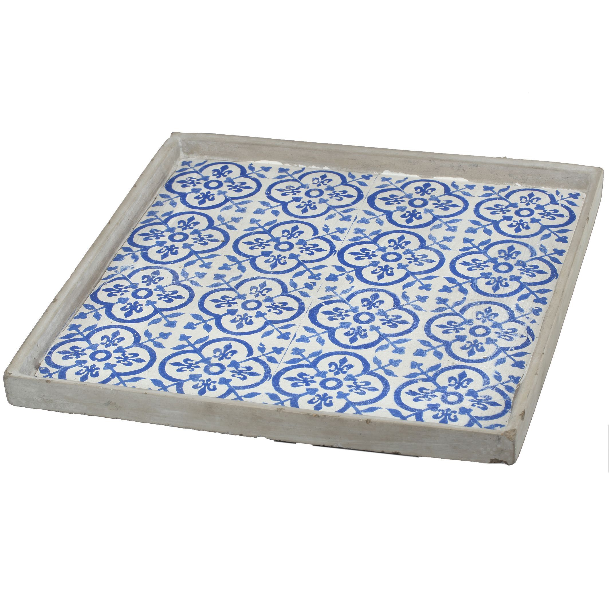 White Decorative Tray Winston Blue And White Wood 16Inch X 16Inch Large Square