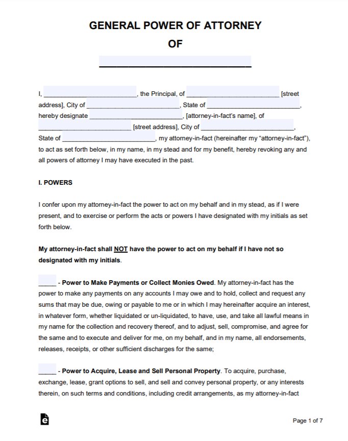 Best 5 Power Of Attorney Form Format Sample Template You