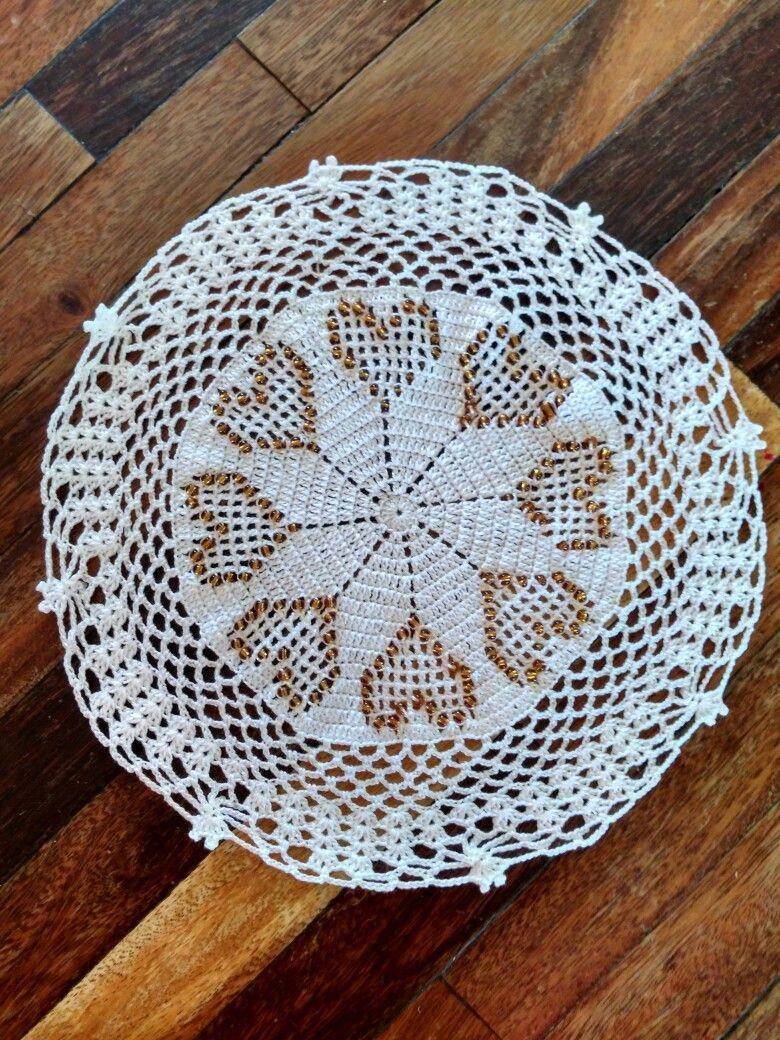 Tapete corazones en crochet y cuentas. #crochet #ganchillo ...
