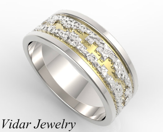 hammered two tone gold wedding band mens mens wedding ring unique