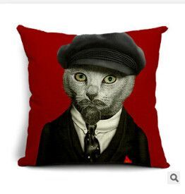 Hipster Cats Cotton Linen Pillow Cushion Cases