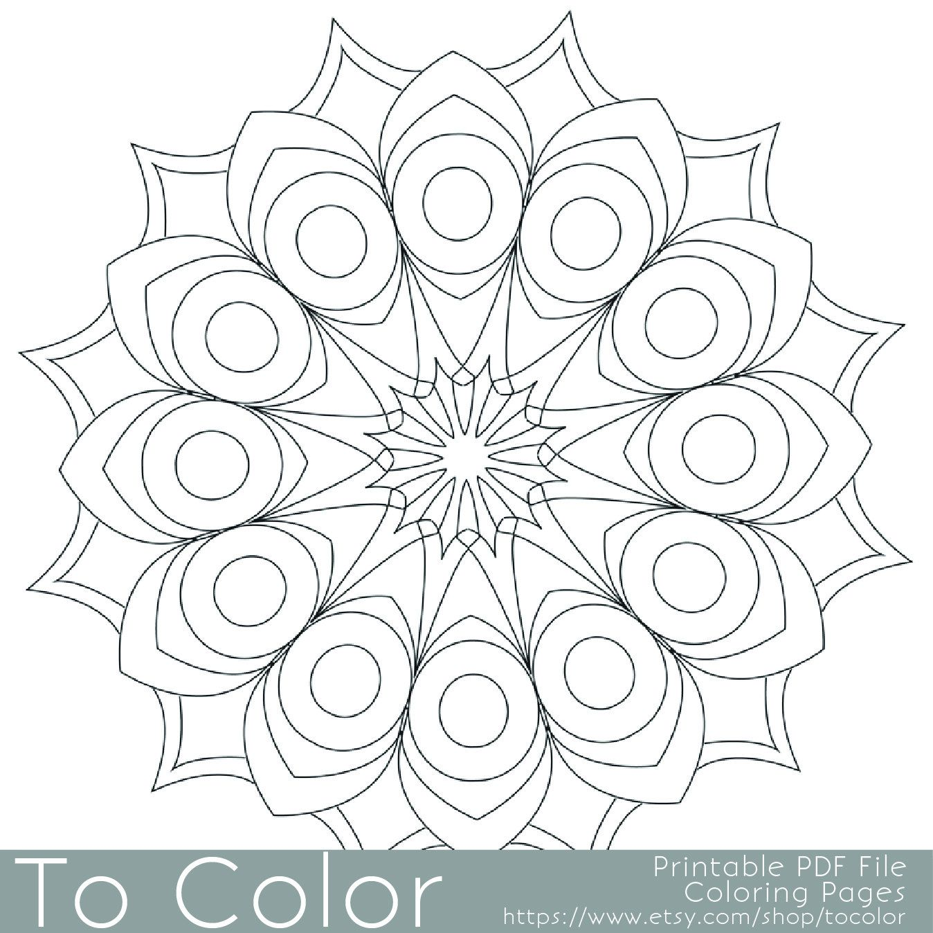Printable Circular Mandala Easy Coloring Pages For Adults Big Spaces PDF JPG Instant