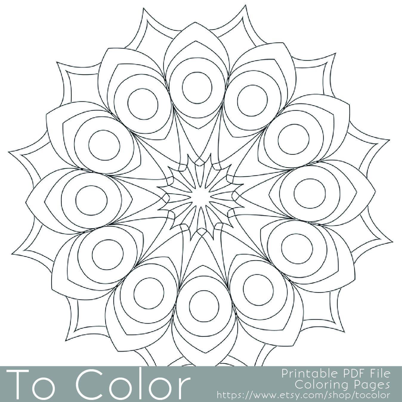Printable Circular Mandala Easy Coloring Pages for Adults