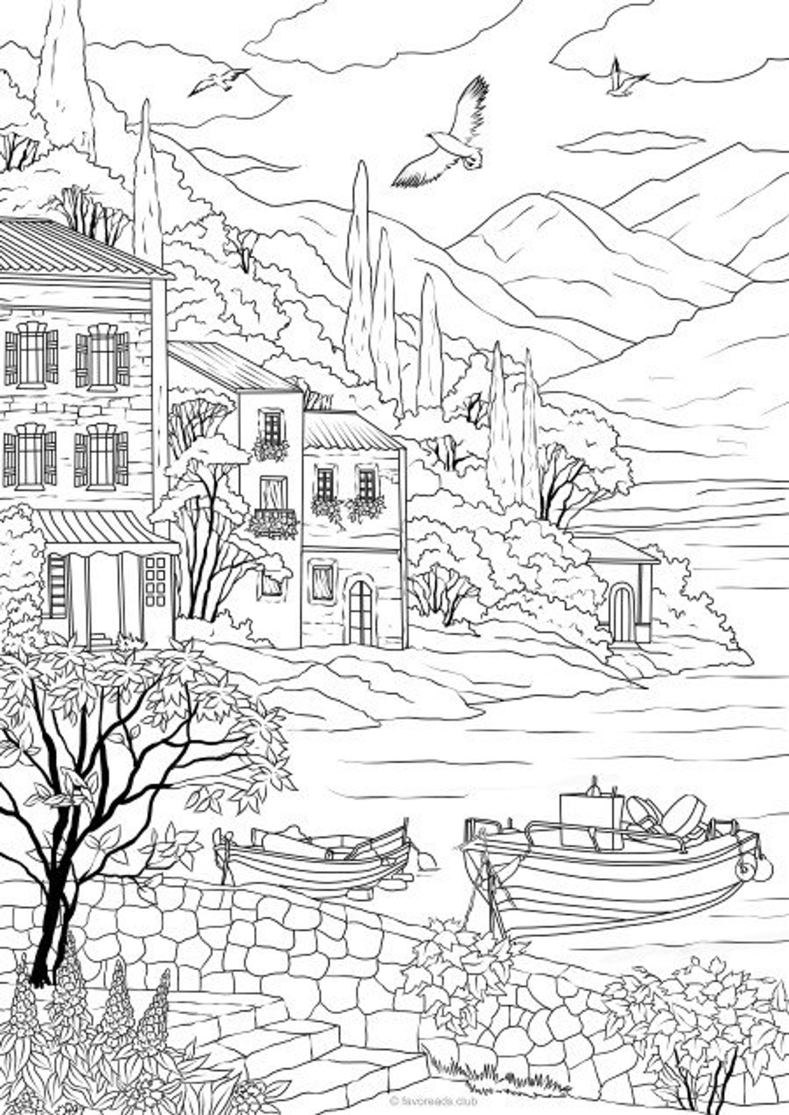 Sea Coast Printable Adult Coloring Page From Favoreads Coloring