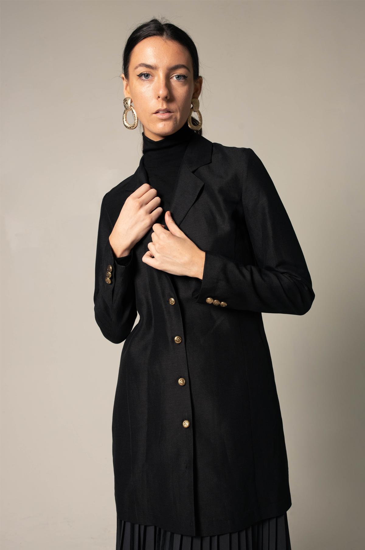 Veste longue en lin noir pour femmes   – Shopify-le-reussi.myshopify.com