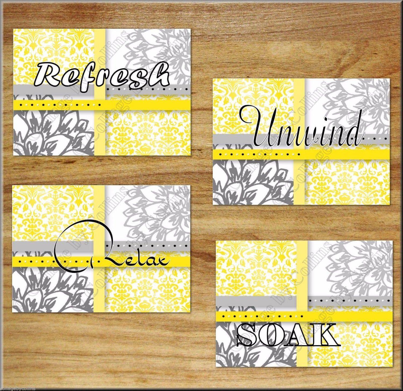 yellow+gray+Bathroom+Rules+Bath+Wall+Art+Prints+Decor+Floral+Flower+ ...