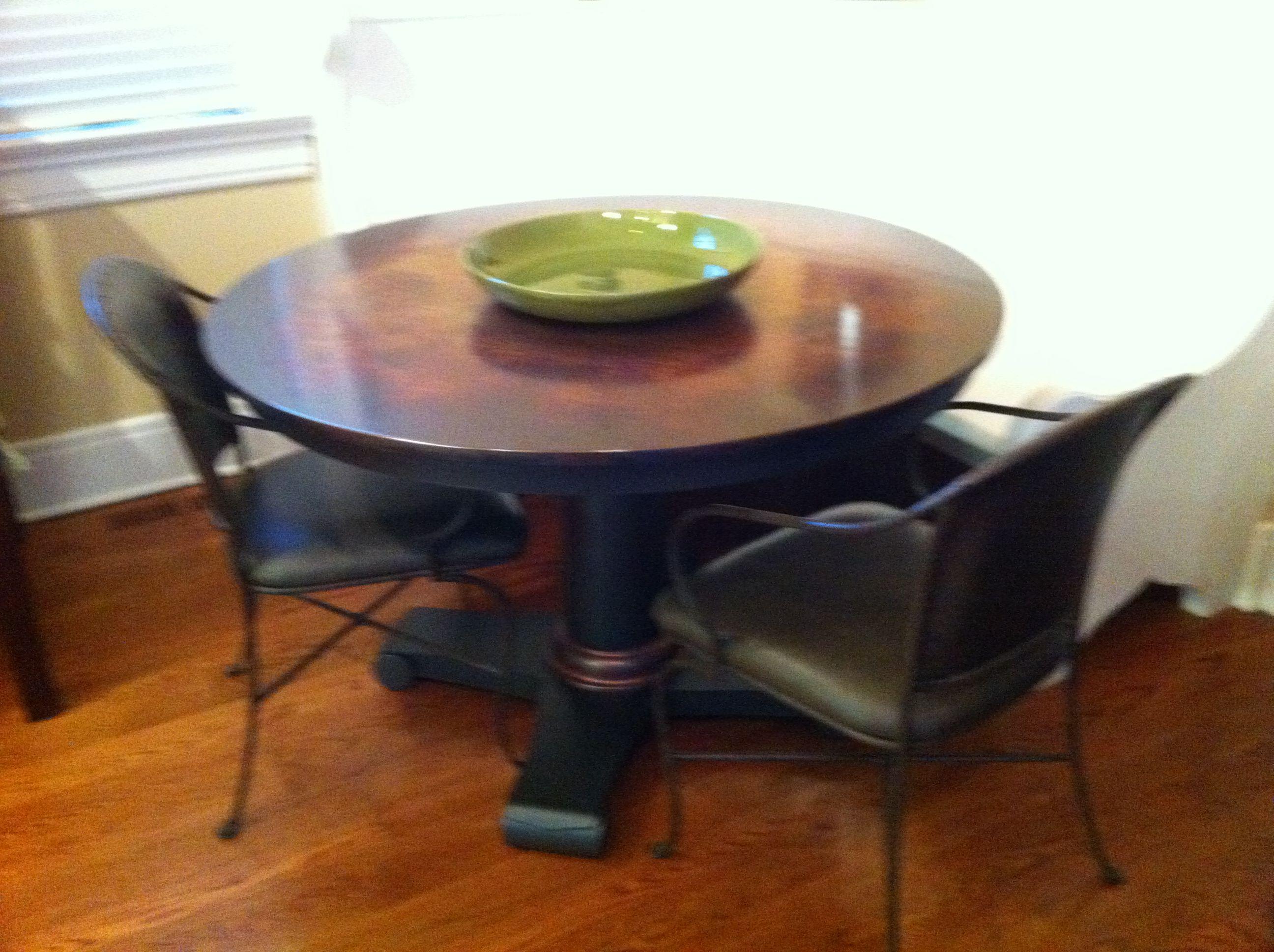 Copper Crate Barrel Pedestal Table 46d X 29 5h Dining