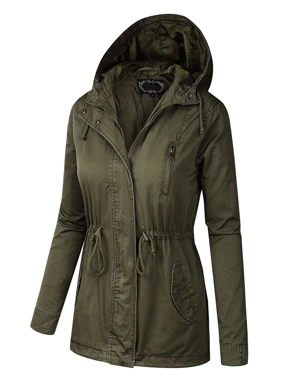 4a1a7904755 BILY Women Plus Size Anorak Safari Hoodie Jacket - Olive ...