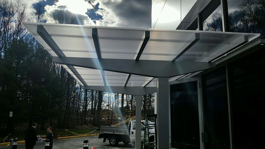 Masa Vision Polycarbonate Canopy At Tris Pharma In Monmouth Junction Nj Architecture Design Metal Manufacturin Metal Buildings Canopy Design Modern Glass