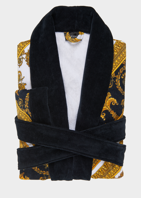 700 VERSACE ROBE Baroque Terry Cloth Bathrobe - Versace Home Bathrobes  Adorned with bold Barocco prints and contrasting trims, this soft and  iconically ... 3067ed801c3