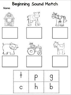 Beginning Sound Match (free worksheet from Unit ,