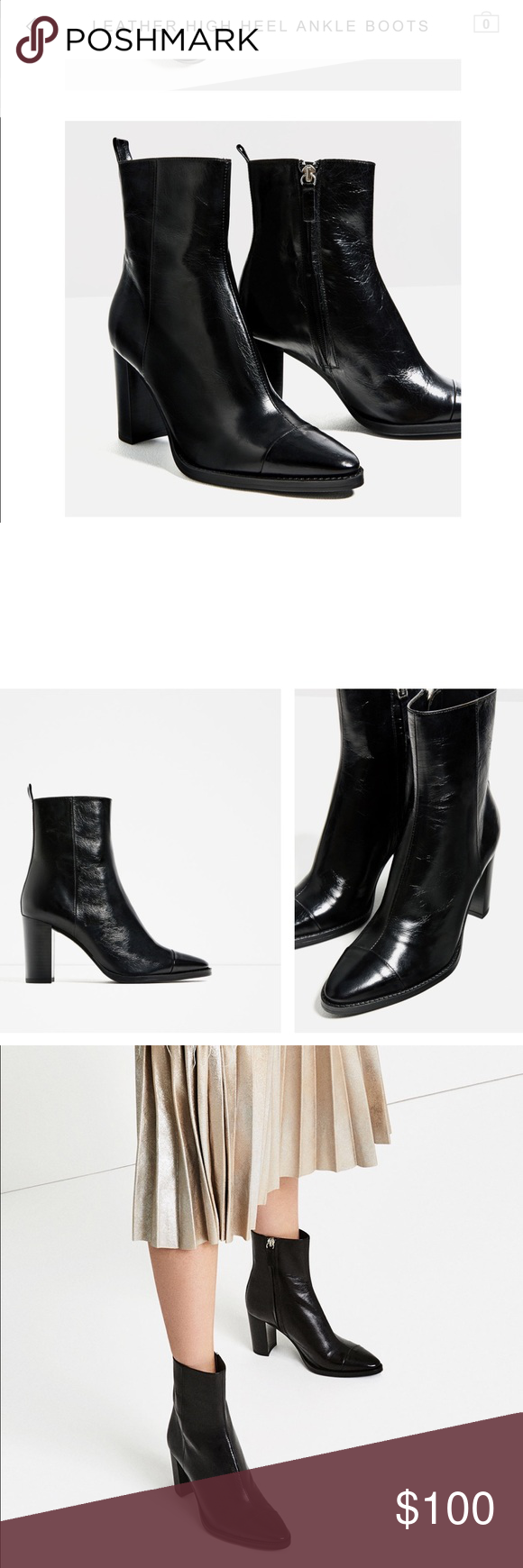 💥ZARA -Sale 🔥heel boot new leather New boot! Size 39 (us 8). New! Leather! Sold out! Fashion boot! Zara Shoes Heeled Boots