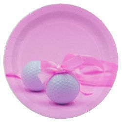 Golf ball with pink ribbon on pink background paper plate  Golf ball with pink ribbon on pink background