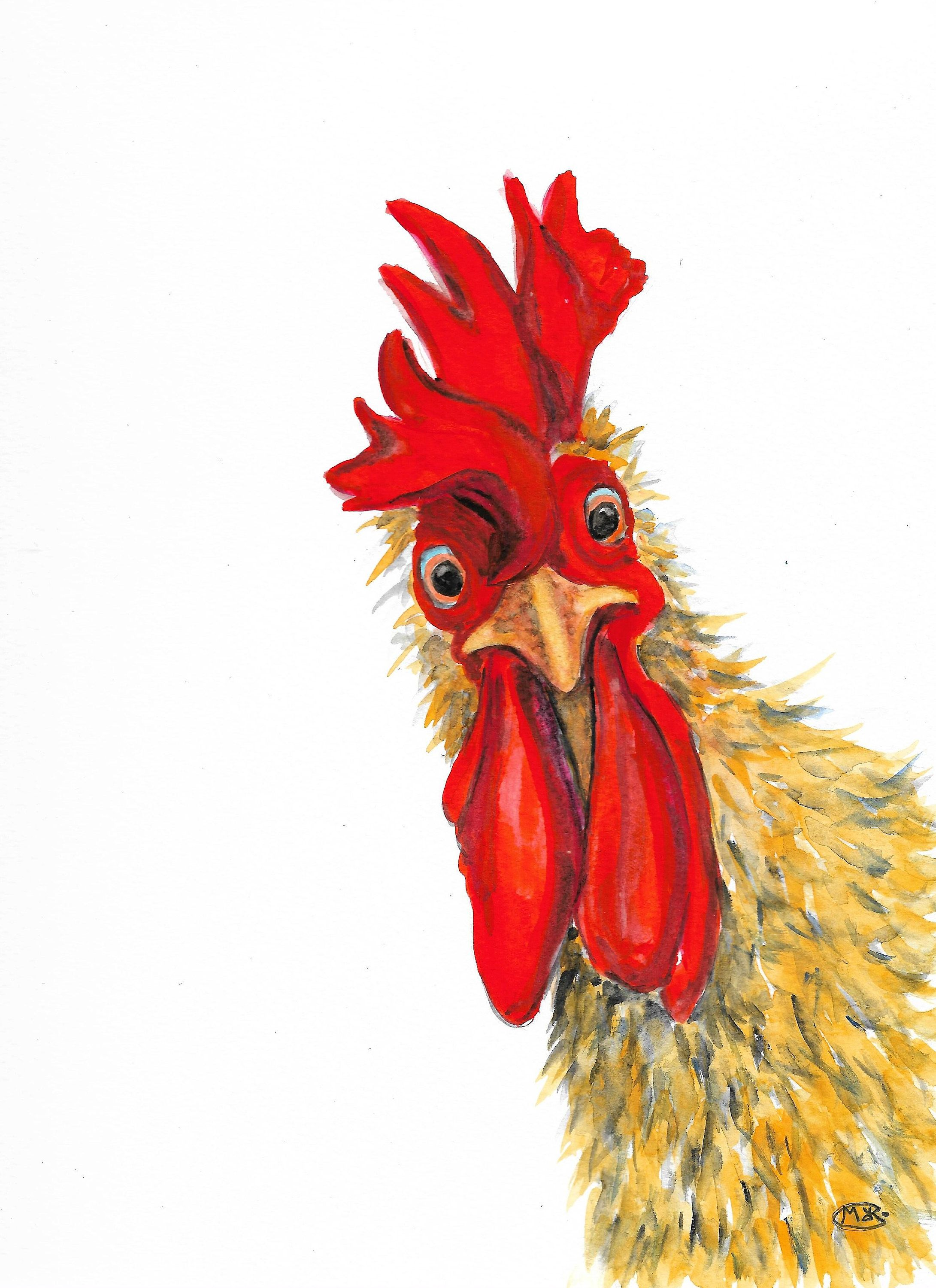 Original rooster art, cockerel painting, farm anim