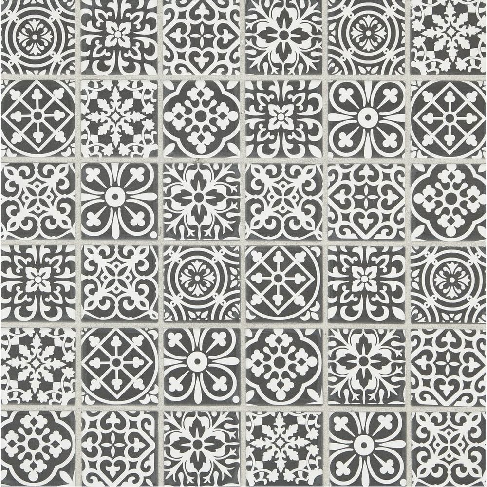 Royal Pattern Matte Ceramic Mosaic Royal Pattern Decorative Ceramic Tile Grey Ceramic Tile
