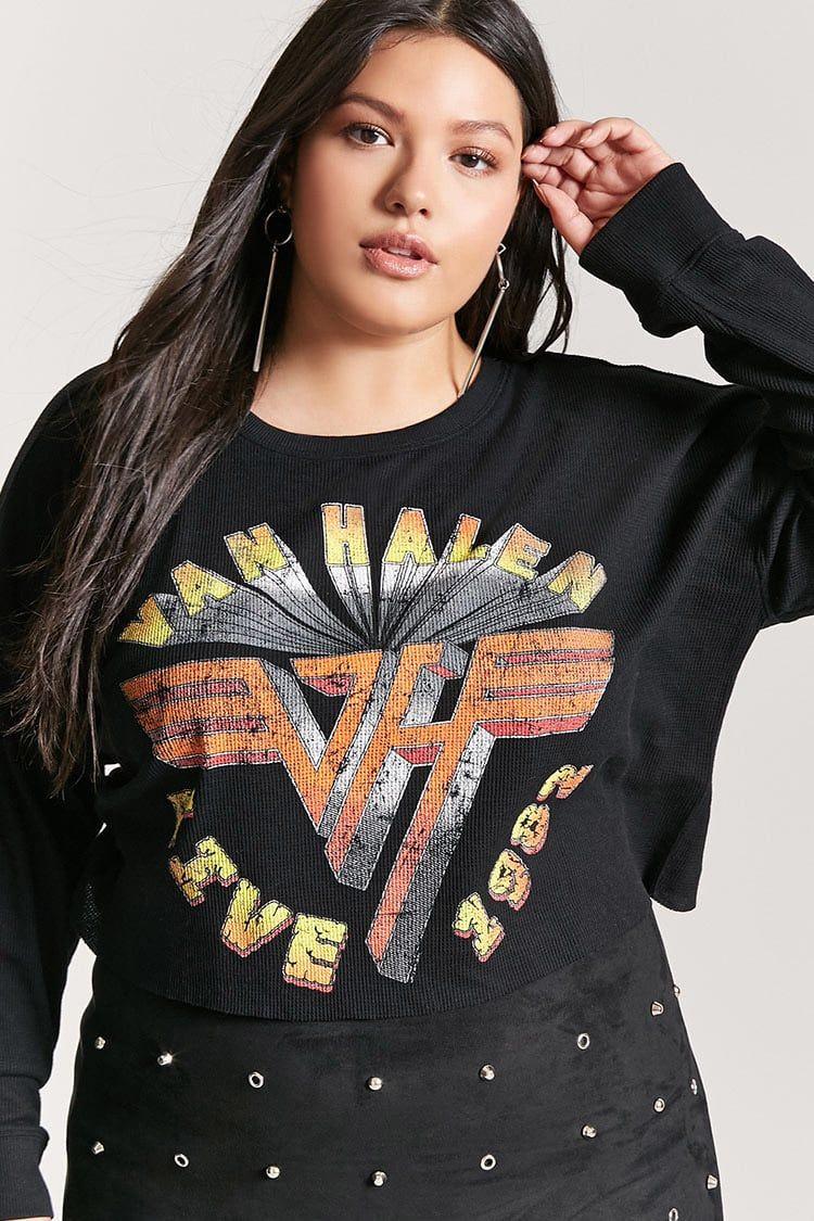 Product Name Plus Size Van Halen Graphic Crop Top Category Plus Size Tops Price 33 9 Tops Fashion Plus Size Tops