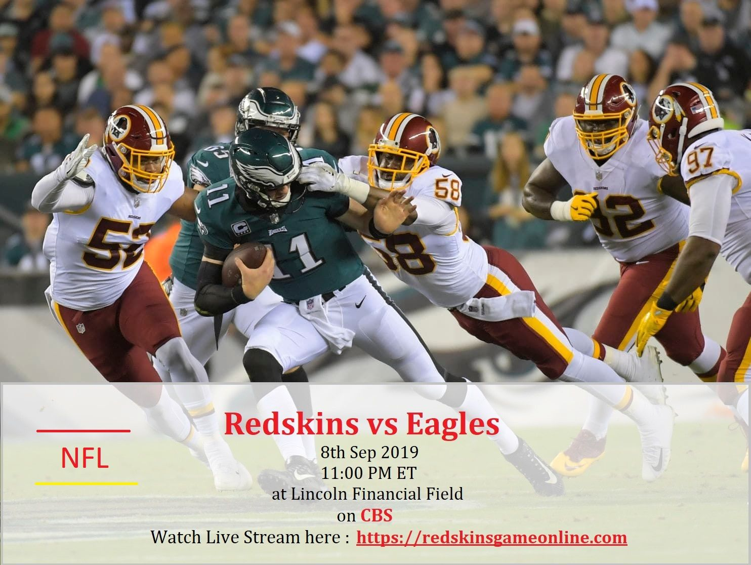 Pin on Redskins vs Eagles live stream NFL