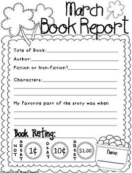 Language Arts  March Book Reports Freebie  School  Reading