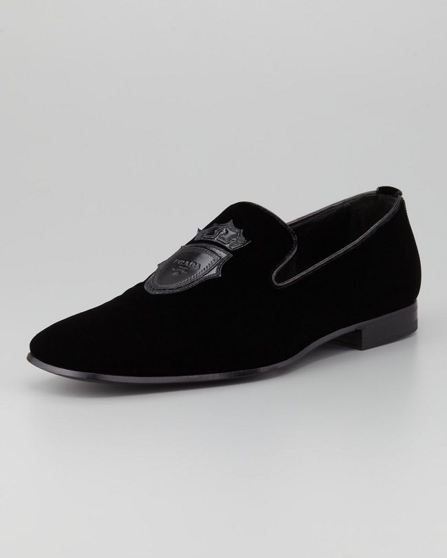 Men's velvet evening loafers by Prada shoes