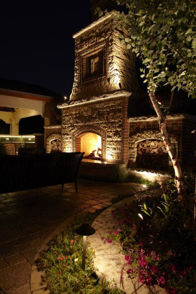 outdoor fireplaces with lights | burr ridge fireplace down ...