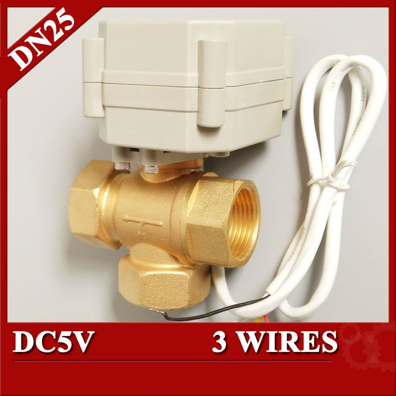 T25 B3 A High Quality 3 Way Dc5v Control Actuated Ball Valve Npt