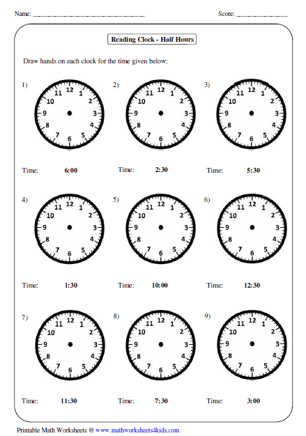 Telling And Writing Time To The Hour And Half Hour Worksheets