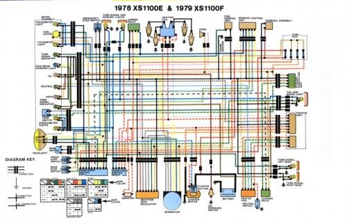 wiring diagram for yamaha xs1100 1978 1979 evan fell motorcycle rh pinterest com Motorcycle Wiring Diagrams Wiring Basic Turn Signal Wiring Diagram