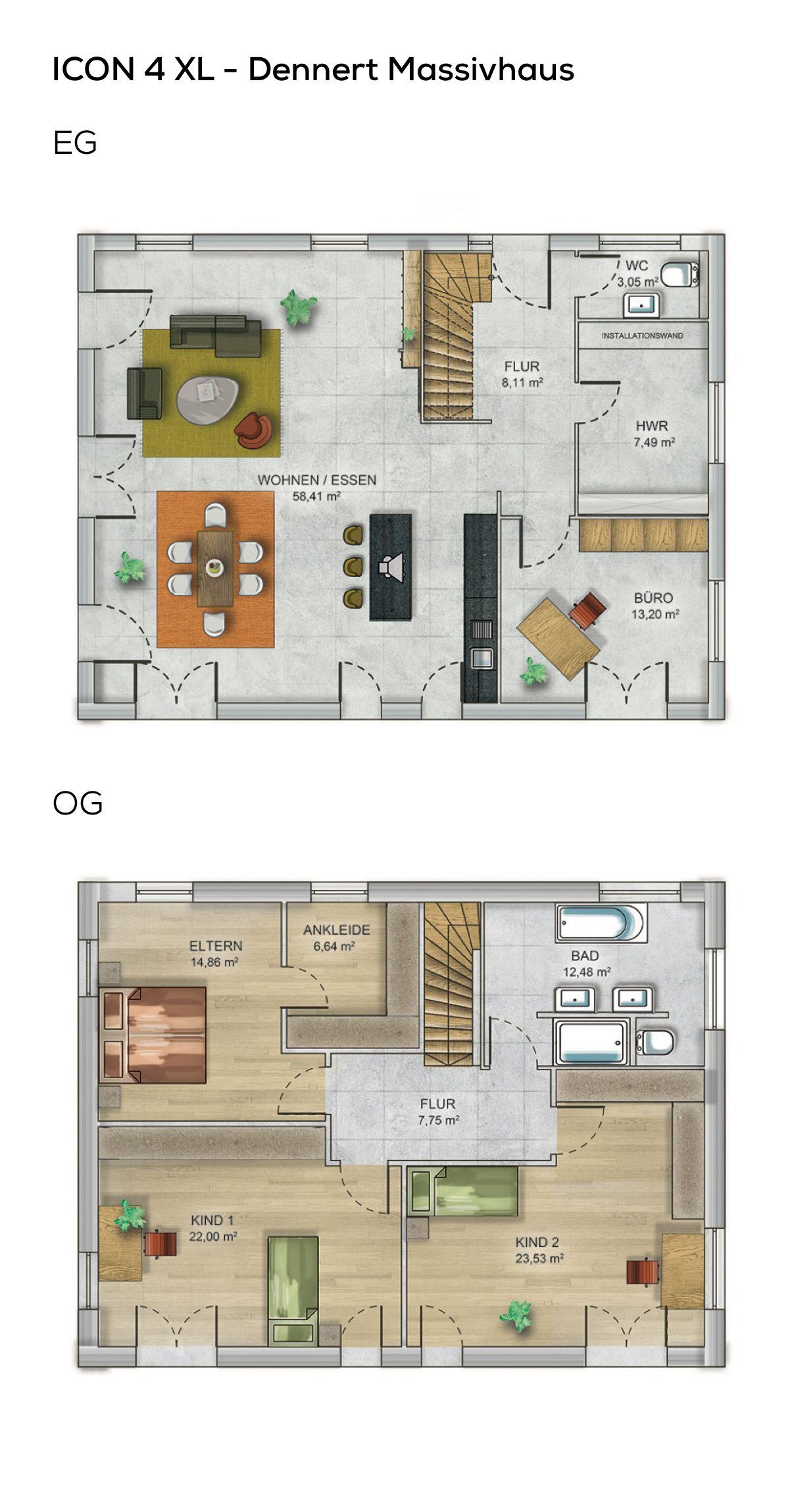 Grundriss Satteldach Haus Modern Treppe Gewendelt   5 Zimmer, 176 Qm Wfl.,  Fertighaus