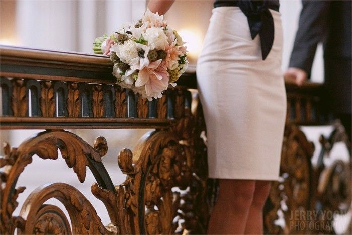 City Hall Bride With Simple Wedding Bouquet At Courthouse San