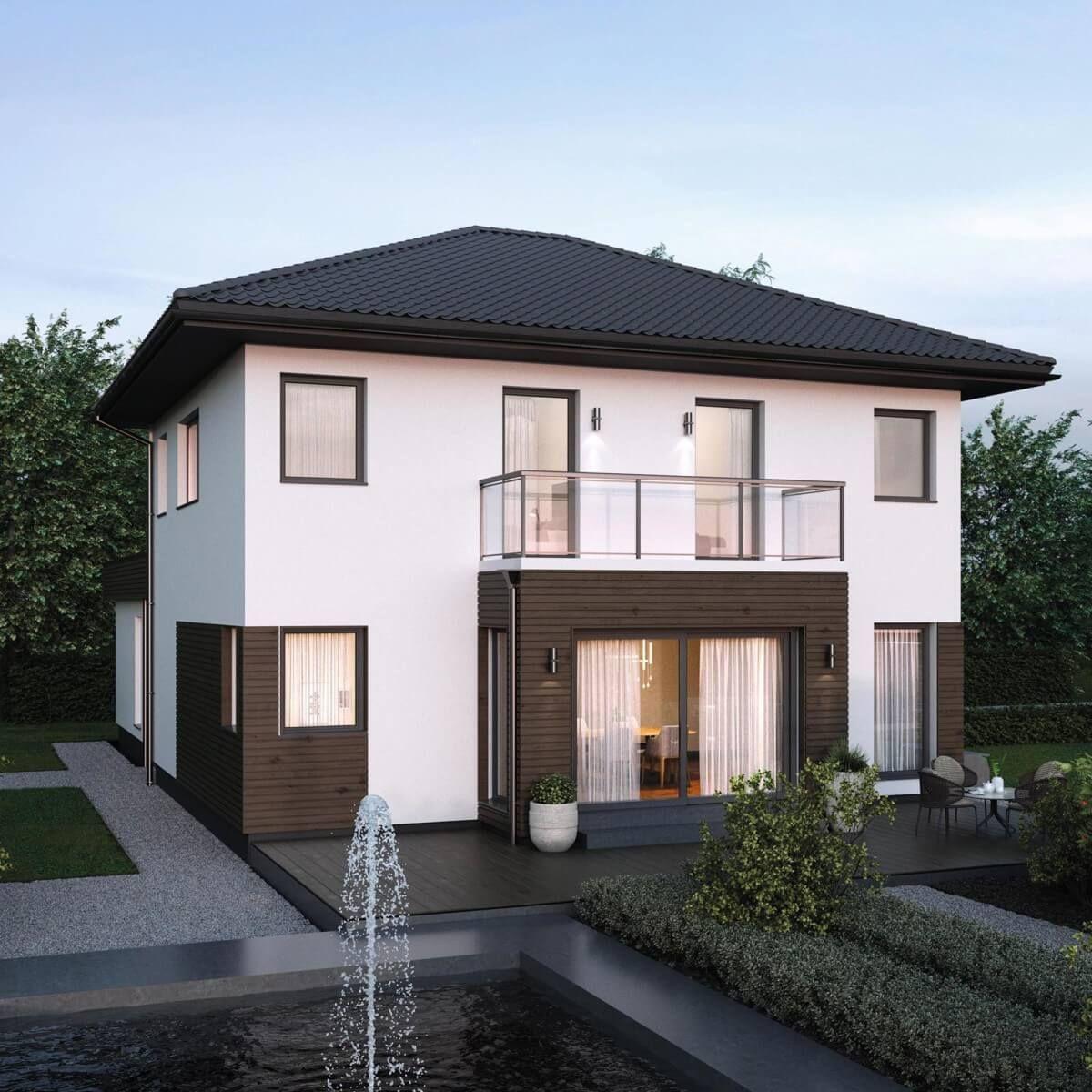 Moderne stadtvilla klassisch mit walmdach architektur for Architektur klassisch