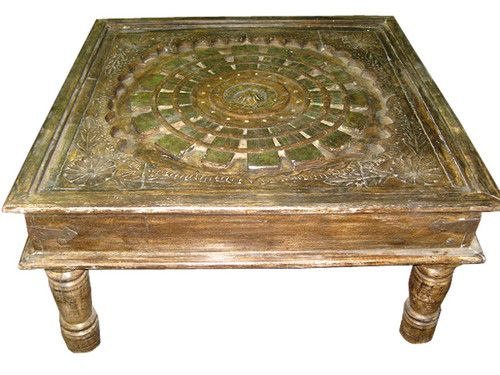 Rajasthan Chakra Carved Traditional Square Coffee Table