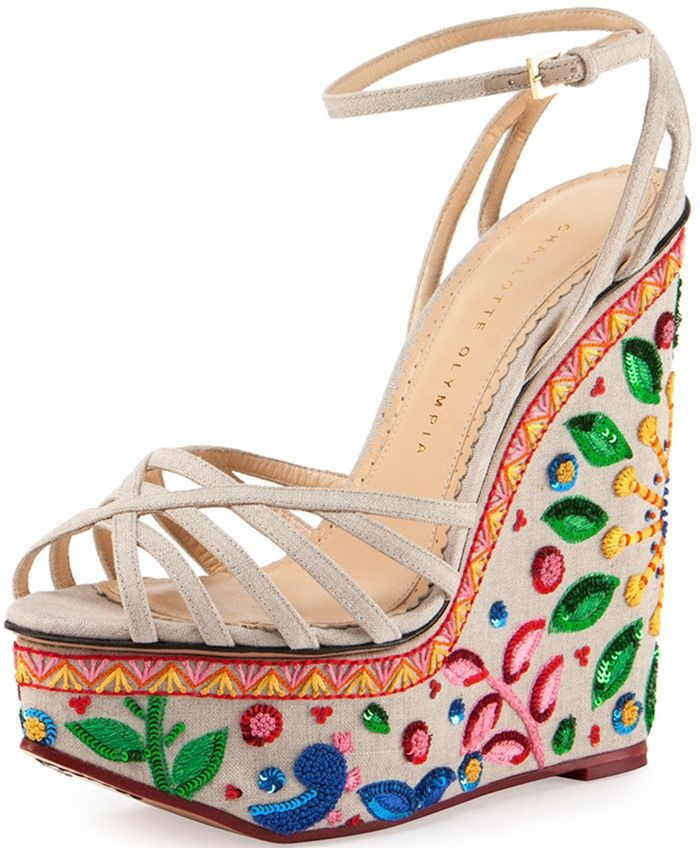 a2f111476e51 Charlotte Olympia  Celebration Meredith  Embroidered-Wedge Sandal ...