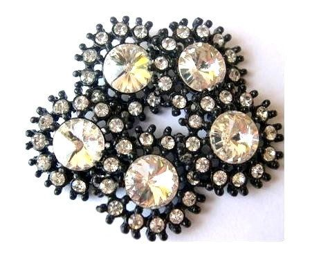 6 Flower buttons clear rhinestones embedded on black color metal, 30mm, new button