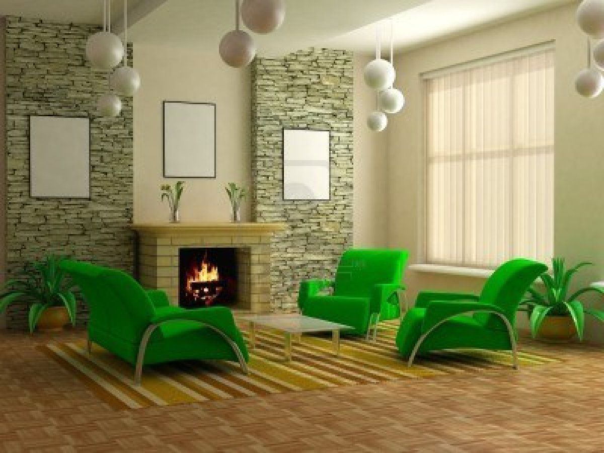 Free Living Room Design Mcm Style With Bright Green Chairs  Vintage  Pinterest  Modern
