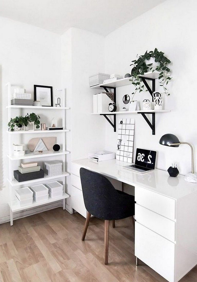 23 Awesome Minimalist Black White Home Office Decorating Ideas