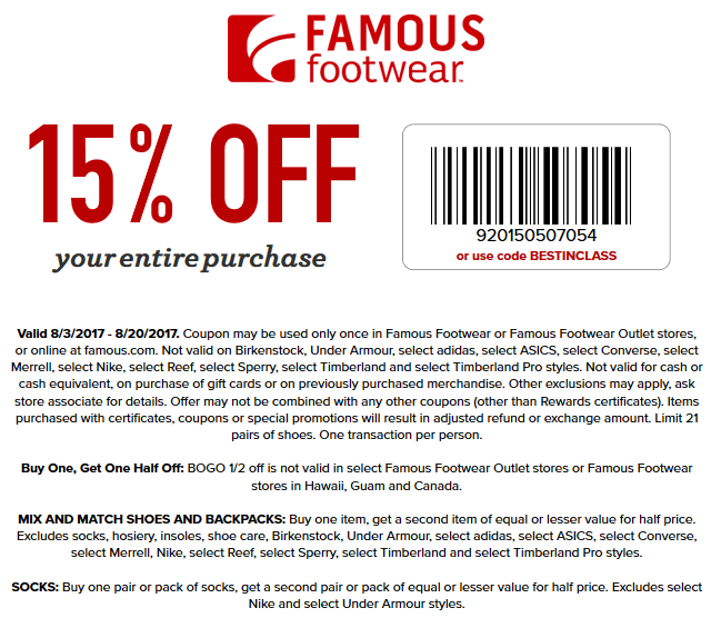 Pinned August 7th 15 Off At Famousfootwear Or Online Via Promo Code Bestinclass Thecouponsapp Shopping Coupons Famous Footwear Coupons