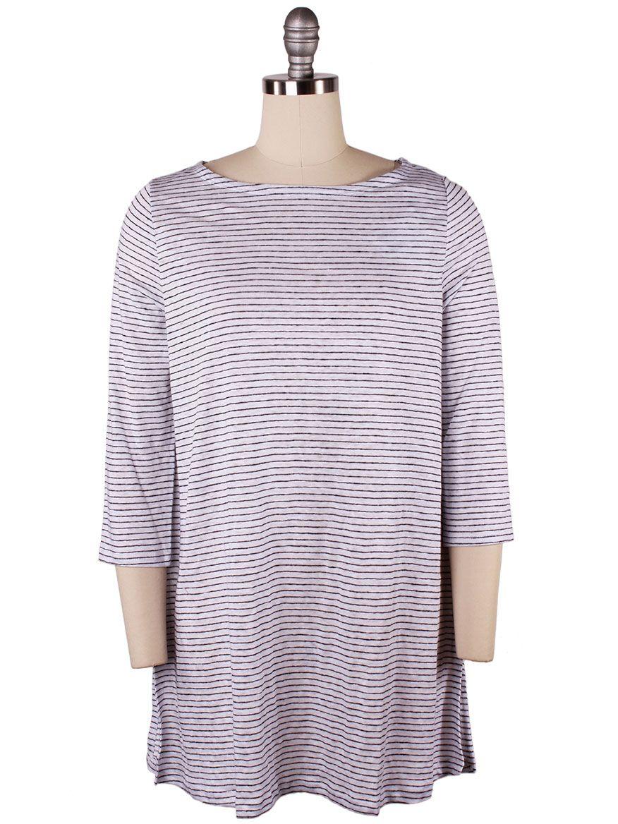 eb5d11a484 Eileen Fisher Organic Linen Jersey Stripe A-Line Tunic