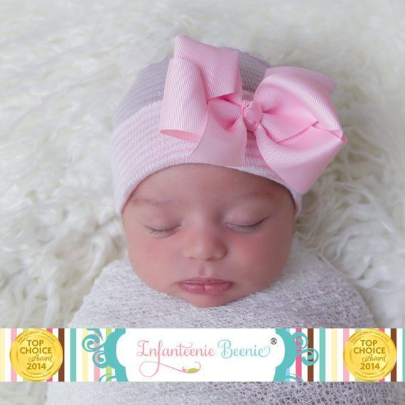 ad4f6ca09ca Newborn Hospital Hat Baby s 1st Keepsake! Newborn Baby Hats. With Pretty Bow  Rhinesto