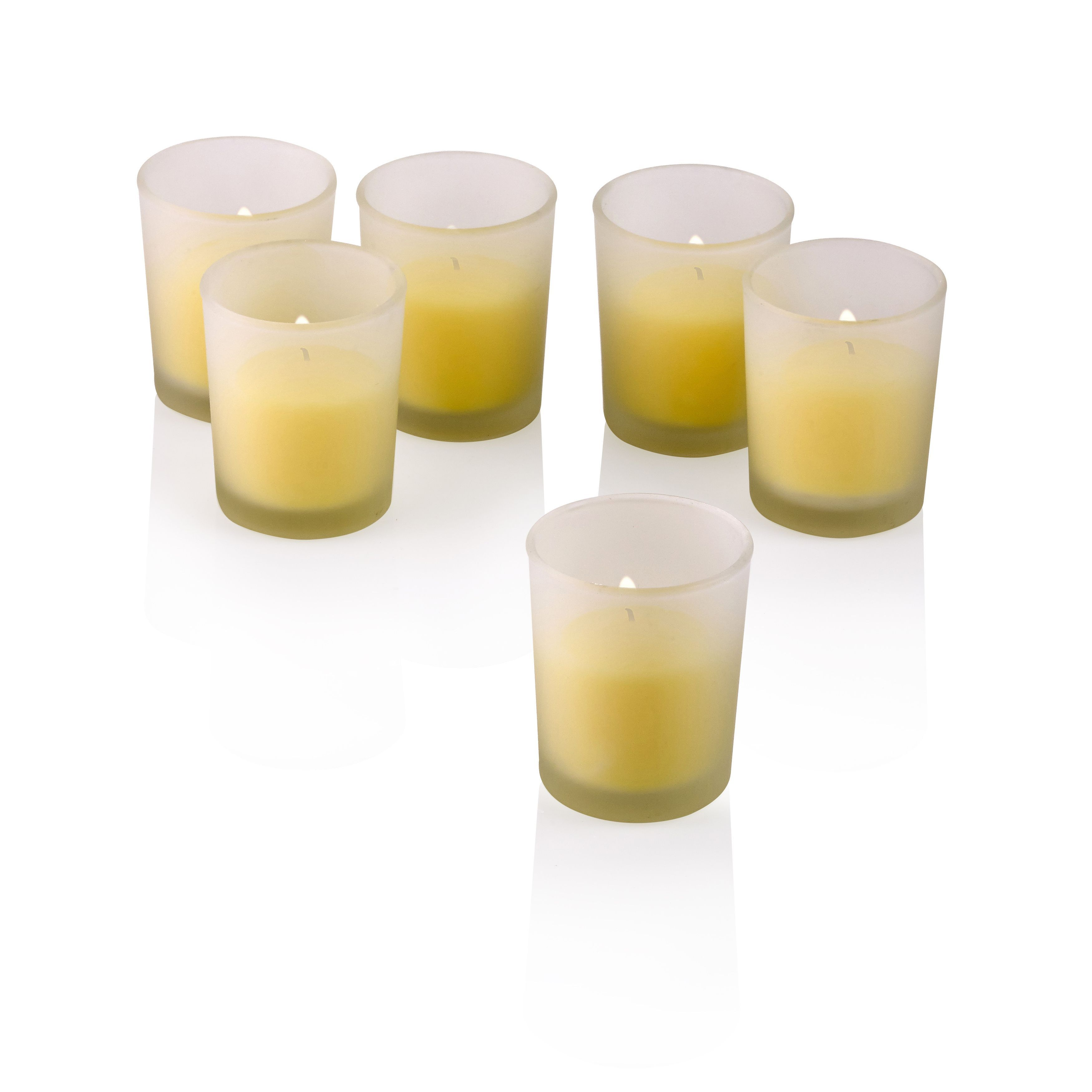 Light white frosted glass round votive candle holders with