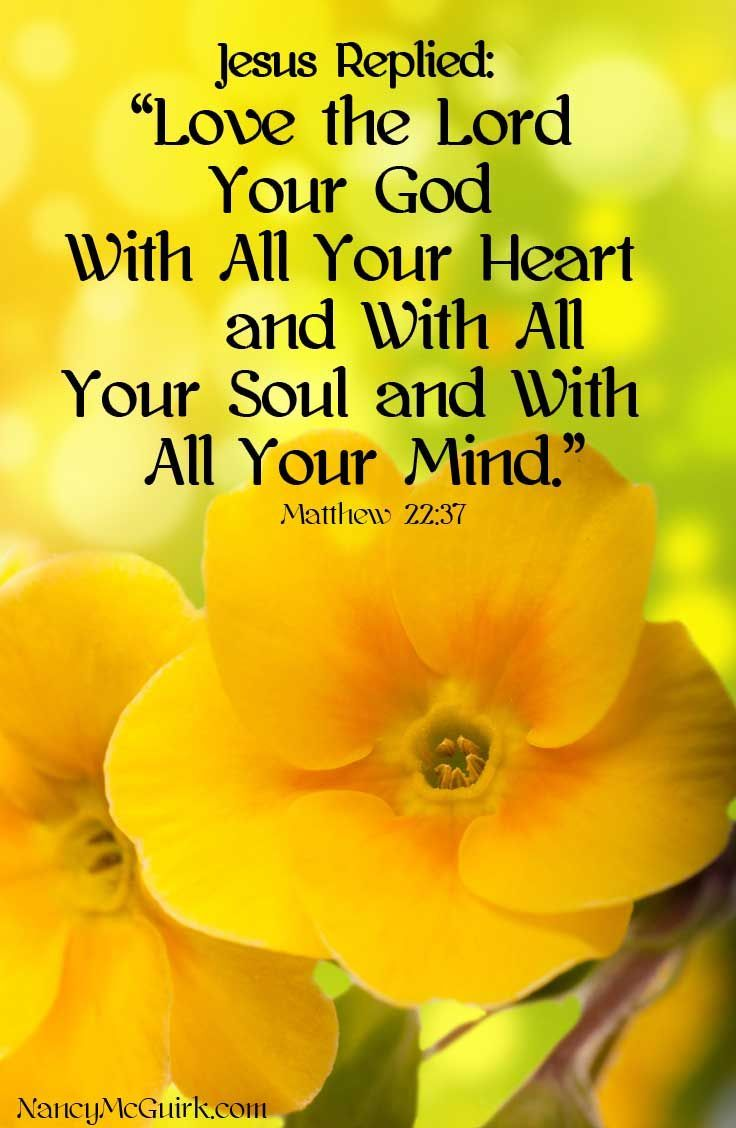 """Bible Quote Jesus replied """"Love the Lord your God with all your heart and with all your soul and with all your mind"""