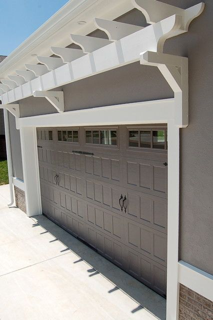 Love The Pergula Above Garage Door Garage Door Trim Garage Door Colors Garage Pergola