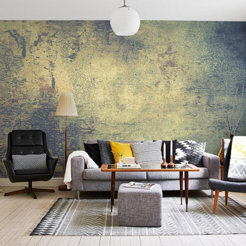 Dark Grunge Wall Mural Peel And Stick Wallpaper Green And Etsy Wall Murals Mural Yellow Decor