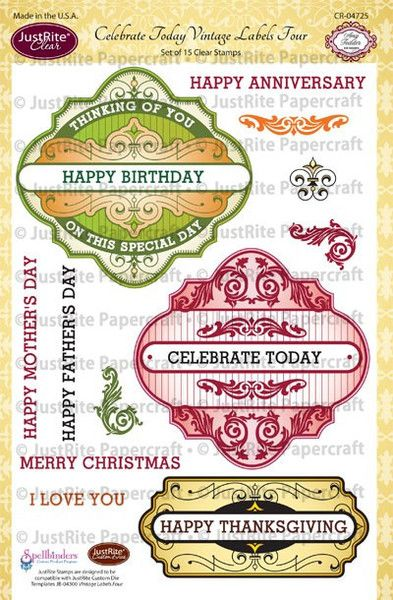 "JustRite Papercraft Celebrate Today Vintages Labels Four- 6"" x 8' Clear Stamp Set designed by Amy Tedder"