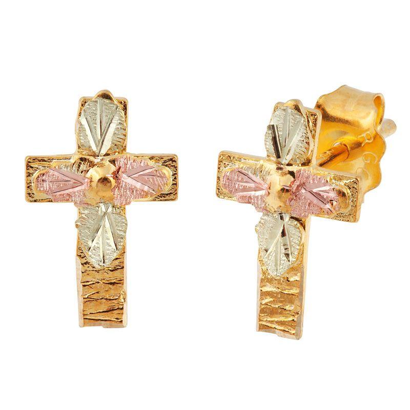 4ad56c9b0 Landstroms Black Hills Gold 10K Gold & Sterling Silver Stud Earrings ...