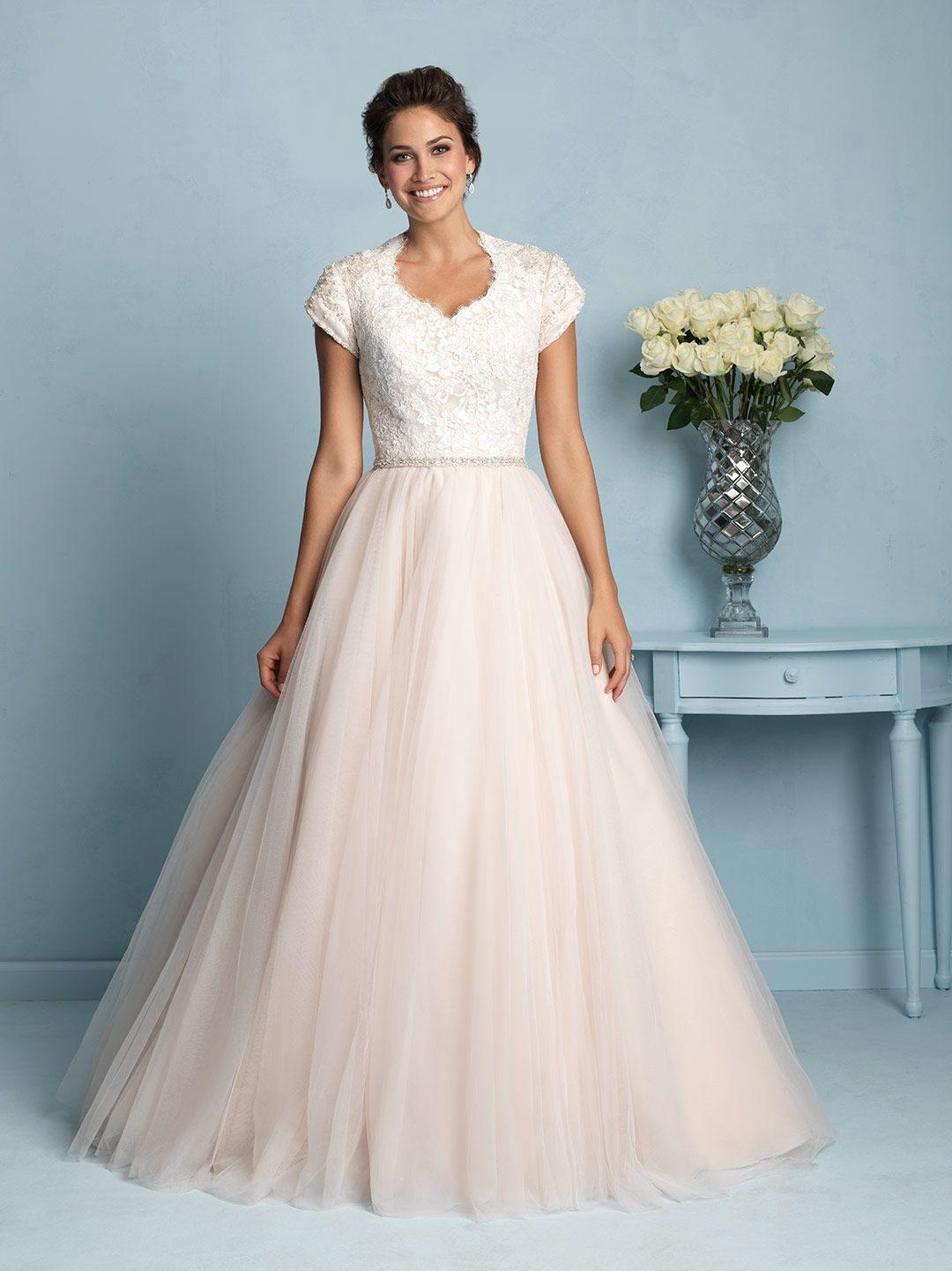 Allure Modest M533 This Timeless Ballgown Features A
